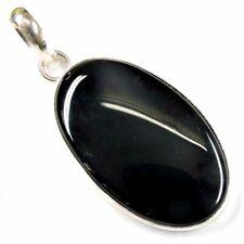 "Black Onyx Agate Gemstone 70.00Cts Silver Overlay Handmade Pendant 1.75"""