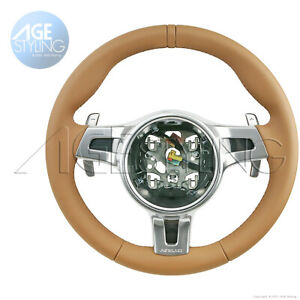 OEM Porsche Panamera 970S Hybrid PDK Cognac Brown Steering Wheel Paddle Shifters