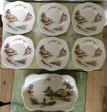 Vintage Alfred Meakin 'The Ride Home' small plates and sandwich/cake plate