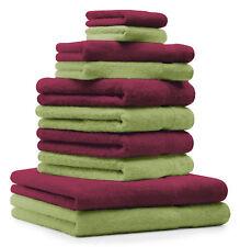 Betz Juego de 10 toallas PREMIUM 100% algodón en rojo oscuro y verde manzana
