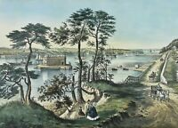 1952 Staten Island New York Narrows Fort Hamilton CURRIER IVES VINTAGE PRINT
