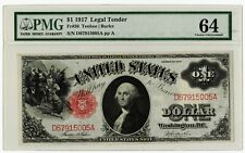 1917 $1.00 One Dollar Legal Tender Red Seal Note PMG MS64 Fr#36 Gorgeous Note