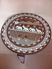 Elephant Carved Inlaid Work Coffee Round Table Rosewood Foldable Home Decor Art