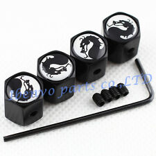 Anti-theft Black Metal Battle Dragon Car Wheel Tyre Tire Air Valve Cap Accessory