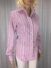** AUSTEN BROTHERS ** Size 8 Pink White Stripe Corporate Cotton Shirt - (A748)