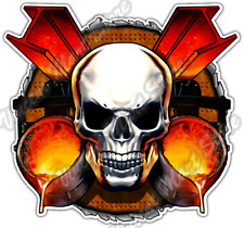 Iron Worker Skull Liquid Metal Molten Car Bumper Vinyl Sticker Decal 4.6""
