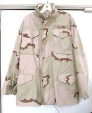 US Navy Military Field Jacket Coat Cold Weather Desert Camo Pattern-Sz Sm Long