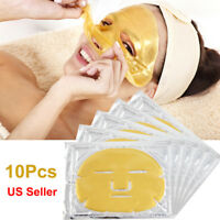 10pc Bio-Collagen 24K Gold Facial Mask Anti Wrinkle Aging  Masks Hydrating