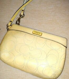 "COACH Yellow Patent Leather Wristlet Clutch Purse Handbag Mini Bag 6"" x 4"""
