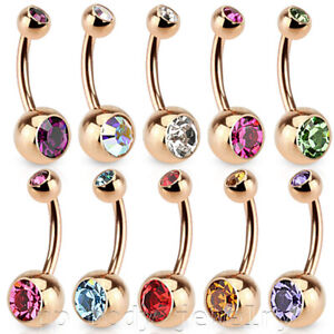 16G 14G Rose Gold IP Surgical Steel Double Gem Navel Ring Belly Button Ring