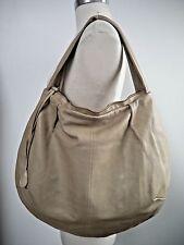 MARNI stone gray beige distressed leather large hobo handbag
