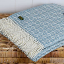 PURE NEW WOOL DUCK EGG BLUE & CREAM THROW LARGE Blanket Scandi Light Blue UK