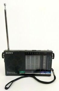 Vintage Sony ICF-4910 AM/FM/SW Portable Pocket Travel Radio 9 Band WORKS Battery