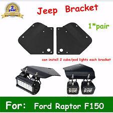 2010-2014 Ford F150 Raptor Fog Lights Kit LED Light Steel Bumper Mount Brackets