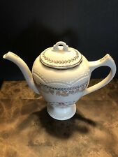 Beautiful Antique Tall Porcelain Teapot Gold Trimmed Floral Design