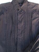 Marc Ecko Mens Button Front Long Sleeve Black Cotton Stripe Shirt Medium M