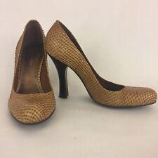 BCBGirls Tan Solid Snakeskin Heels Pumps Size 7.5