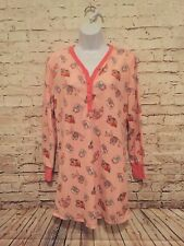 PJ Couture Owls pink Nightgown Pajamas Soft Size L long sleeves