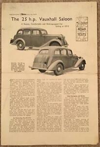 VAUXHALL 25 HP SALOON 1938 Road Test Reprint from The Motor Magazine #1908-38