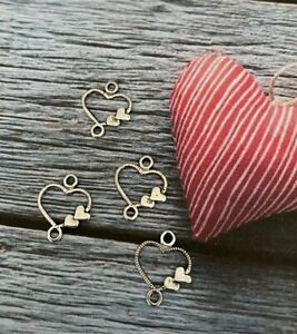 Silver Heart Charms Spacers Valentine Tibetan Charm for Jewellery Making Beads