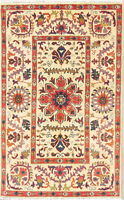 NEW 3'x4' Wool Pakistan Kazak Area Rug Hand-Knotted Oriental Red & Ivory CARPET
