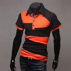 moda uomo slim polo camicie manica corta casual estivo t-shirt top NUOVO