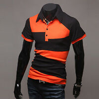 Mens Stylish Slim Fit Short Sleeve Casual Polo Shirts T-shirt Tee Tops Jersey US