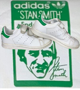 ADIDAS Kids Stan Smith Sneakers Shoes Size 11 Strap Closure Leather Green White