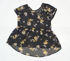 New Xhilaration Juniors Flutter Sleeve Woven Blouse Shirt Black Medium 07389