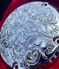 HARLEY DAVIDSON CHROMED 5 HOLE DERBY COVER CUSTOM HAND ENGRAVED 185M DIAMETER