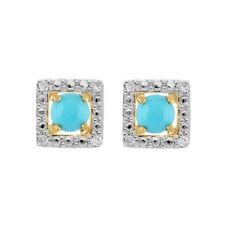 9ct Yellow Gold Turquoise Stud Earrings & Detachable Diamond Square Ear Jacket