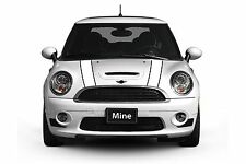 Mini Cooper 2002-2006 White with Black Hood Stripe Decals Exact Fit No trimming