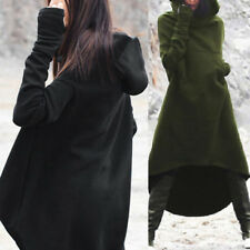 ZANZEA Damen Kapuzenpullover Shirtkleid Asymmetrisch Sweats Fleece Hoodies Kleid