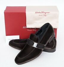 NIB Salvatore Ferragamo Danny 2 Men's Brown Velvet Loafers Slip-On Shoes 11 D