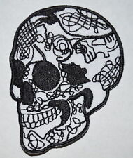 Skull Head Tattoo Biker Embroidery Iron On / Sew on Patch/ Badge