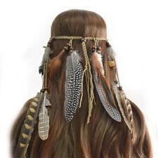 Boho Tassel Headband  Headpiece Tribal Hair Rope Bohemian Girls Brown