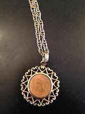 WLP SIGNED 1903 INDIAN HEAD PENNY SET GOLD TONE PENDANT CHAIN NECKLACE Vintage