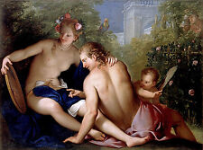 Oil painting angel cupid with Venus and Mars in spring landscape free shipping