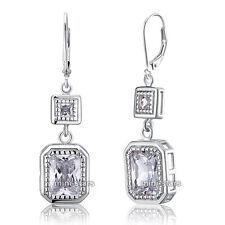 4 ct Emerald Cut  Dangle Sterling 925 Silver Bridal Wedding Earrings FE8014