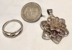 Solid Silver. Victoria 1887 Shilling Brooch. Sterling Rose Pendant And Ring.