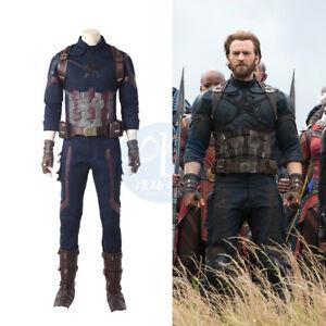 The Avengers 3 Captain America Mens Cosplay Costume Bodysuit Full Set Halloween