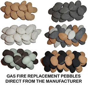 GAS & Electric Fire Replacement Pebbles Universal Ceramic Stones Gas Coal Fires