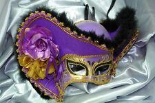 Women Light Pirate Hat Theater Mardi Gras Masquerade Mask - Purple/Gold