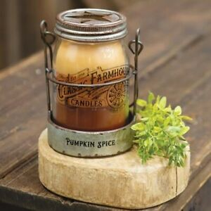 PUMPKIN SPICE 3 LAYER JAR CANDLE Tin Galvanized Holder Farmhouse 14 oz