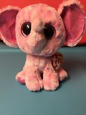 """Ty ELLIE -Pink Speckled Elephant 6"""" Beanie Boo! *Retired* RARE & VHTF!!"""