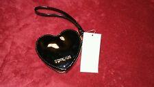 Michael Kors *Black* Leather Heart Coin Purse Key Fob -Nwt's