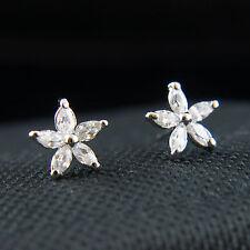 18k white Gold GF Diamond simulant star petal solid stud earrings