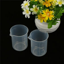 2pcs 100mL Clear Plastic Graduated Measuring Cup Jug Beaker Lab ToolSC