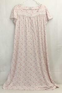 "Croft & Barrow Pajama Nightgown Plus Size 2x 27"" White Pink Floral Sleep Shirt"
