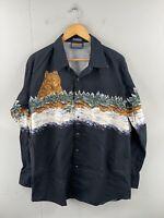 Panhandle Slim Men's Vintage Long Sleeve Western Wolf Snap Shirt Size XL Black